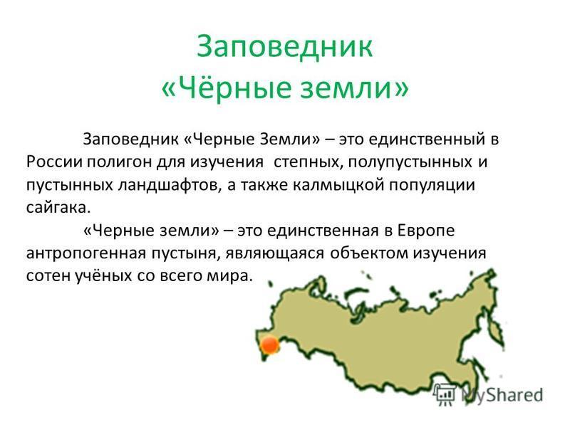 Заповедник «Чёрные земли» Заповедник «Черные Земли» – это единственный в России полигон для изучения степных, полупустынных и пустынных ландшафтов, а также калмыцкой популяции сайгака. «Черные земли» – это единственная в Европе антропогенная пустыня,
