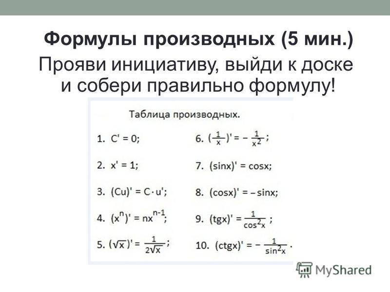 Формулы производных (5 мин.) Прояви инициативу, выйди к доске и собери правильно формулу!