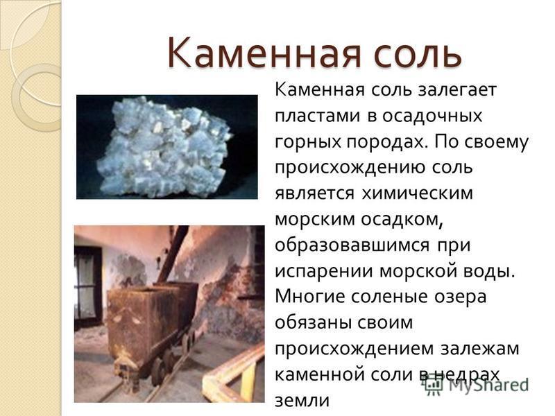Каменная соль Каменная соль залегает пластами в осадочных горных породах. По своему происхождению соль является химическим морским осадком, образовавшимся при испарении морской воды. Многие соленые озера обязаны своим происхождением залежам каменной