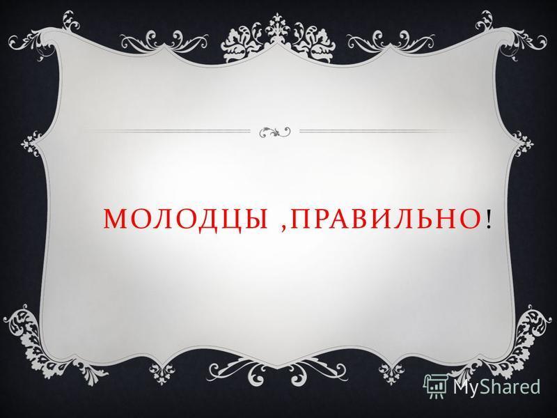 МОЛОДЦЫ, ПРАВИЛЬНО !