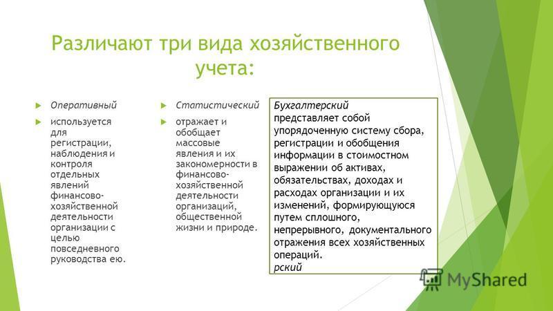 Различают три вида хозяйственного учета: Оперативный используется для регистрации, наблюдения и контроля отдельных явлений финансово- хозяйственной деятельности организации с целью повседневного руководства ею. Статистический отражает и обобщает масс