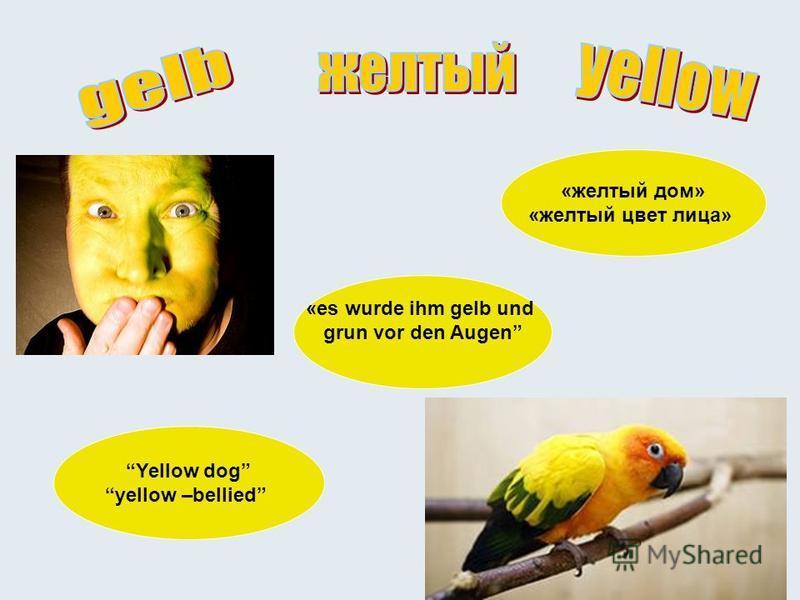 «желтый дом» «желтый цвет лица» Yellow dog yellow –bellied «es wurde ihm gelb und grun vor den Augen