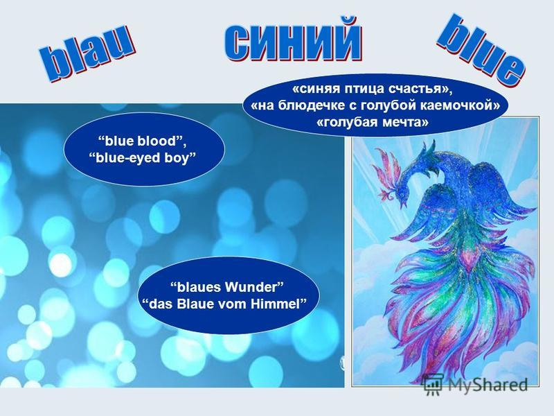 blue blood, blue-eyed boy blaues Wunder das Blaue vom Himmel «синяя птица счастья», «на блюдечке с голубой каемочкой» «голубая мечта»