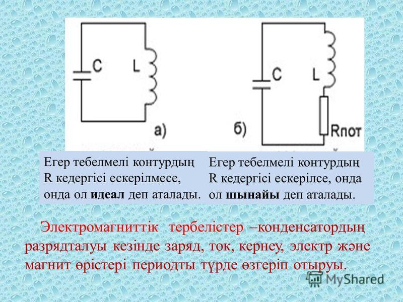 Егер тебелмелі контурдың R кедергісі ескерілмесе, онда ол идеал деп аталады. Егер тебелмелі контурдың R кедергісі ескерілсе, онда ол шынайы деп аталады. Электромагниттік тербелістер –конденсатордың разрядталуы кезінде заряд, ток, кернеу, электр және