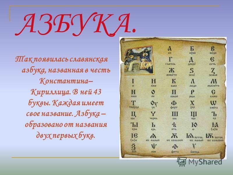 АЗБУКА. Так появилась славянская азбука, названная в честь Константина– Кириллица. В ней 43 буквы. Каждая имеет свое название. Азбука – образовано от названия двух первых букв.