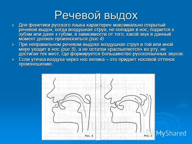 Речевой выдох Для фонетики русского языка характерен максимально открытый речевой выдох, когда воздушная струя, не попадая в нос, подается к зубам или даже к губам, в зависимости от того, какой звук в данный момент должен произноситься.(рис.4) Для ф