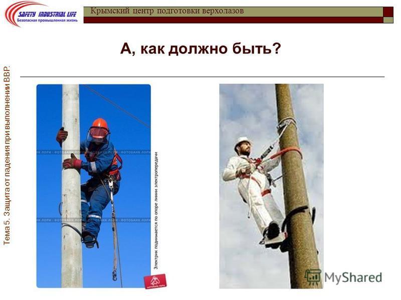 Тема 5. Защита от падения при выполнении ВВР. Крымский центр подготовки верхолазов А, как должно быть?
