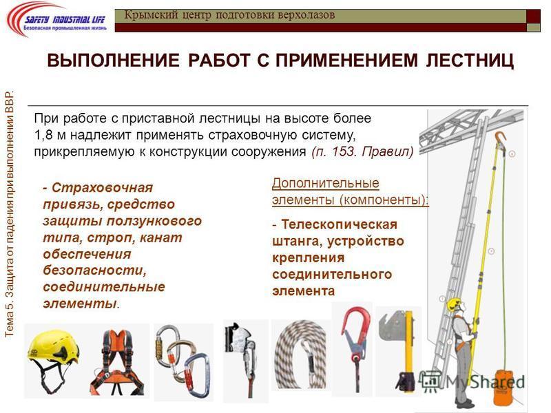 Инструкции при работе с приставных лестниц