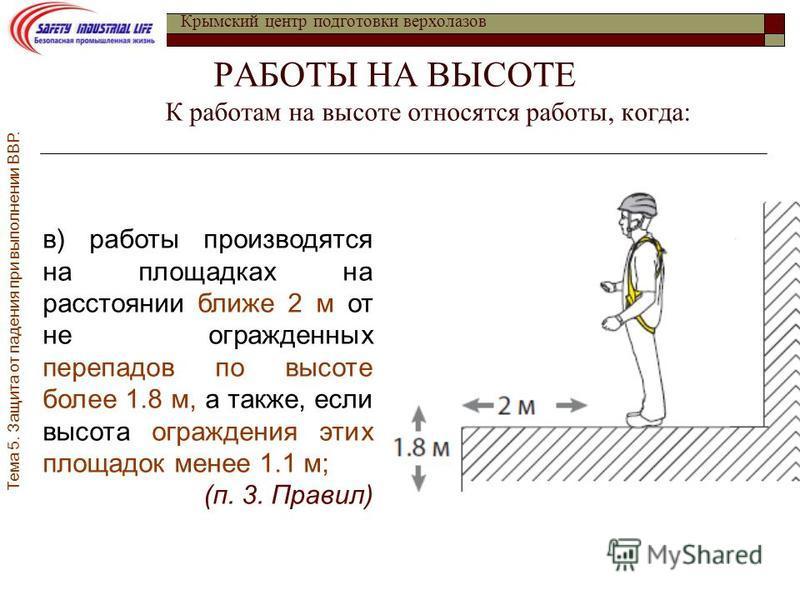Инструкция о порядке подготовки работающих на высоте