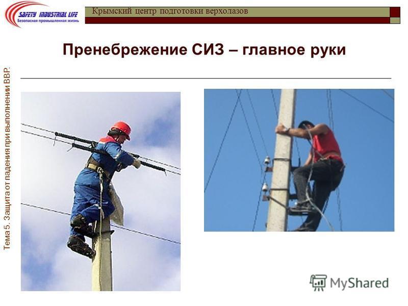 Тема 5. Защита от падения при выполнении ВВР. Крымский центр подготовки верхолазов Пренебрежение СИЗ – главное руки