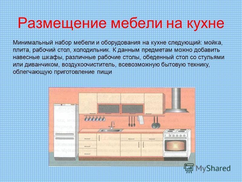 Размещение мебели на кухне Минимальный набор мебели и оборудования на кухне следующий: мойка, плита, рабочий стол, холодильник. К данным предметам можно добавить навесные шкафы, различные рабочие столы, обеденный стол со стульями или диванчиком, возд