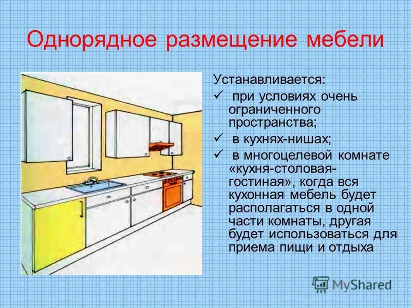 Однорядное размещение мебели Устанавливается: при условиях очень ограниченного пространства; в кухнях-нишах; в многоцелевой комнате «кухня-столовая- гостиная», когда вся кухонная мебель будет располагаться в одной части комнаты, другая будет использо