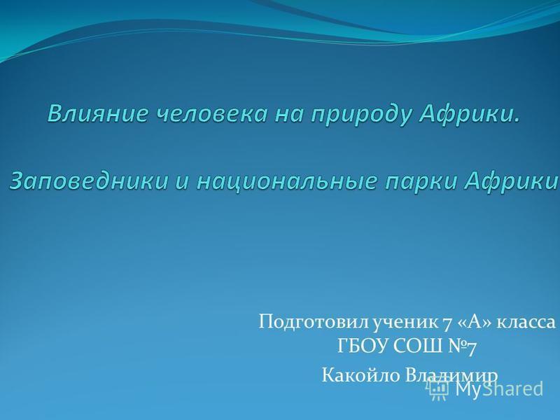 Подготовил ученик 7 «А» класса ГБОУ СОШ 7 Какойло Владимир