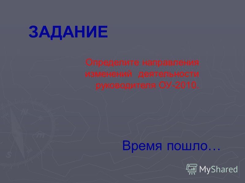 ЗАДАНИЕ Определите направления изменений деятельности руководителя ОУ-2010. Время пошло…