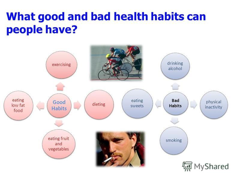 What good and bad health habits can people have? Good Habits exercising dieting eating fruit and vegetables eating low fat food Bad Habits drinking alcohol physical inactivity smoking eating sweets