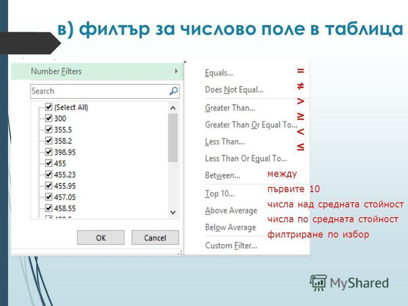 в) филтър за числово поле в таблица = > < между първите 10 числа над средната стойност числа по средната стойност филтриране по избор