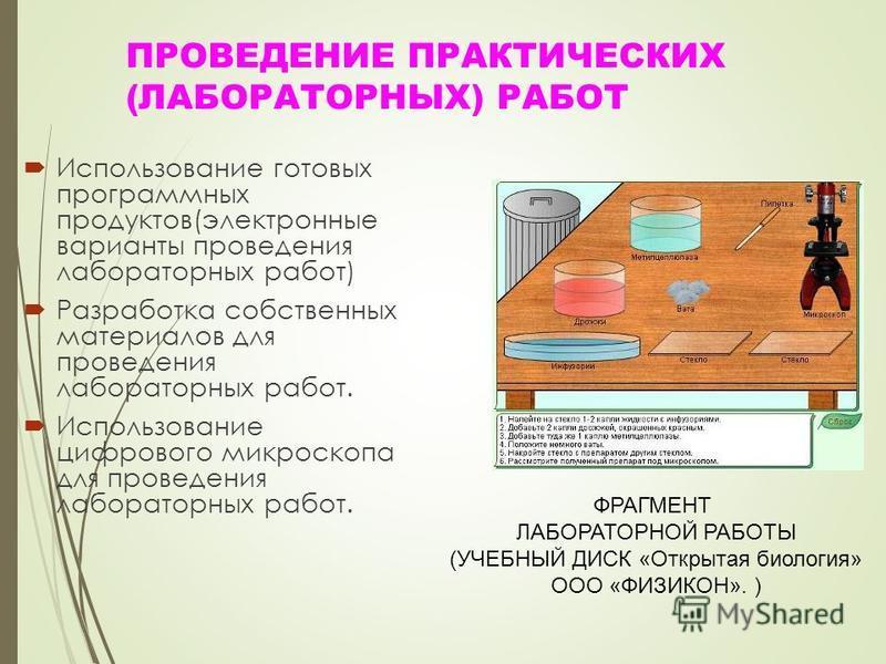 ПРОВЕДЕНИЕ ПРАКТИЧЕСКИХ (ЛАБОРАТОРНЫХ) РАБОТ Использование готовых программных продуктов(электронные варианты проведения лабораторных работ) Разработка собственных материалов для проведения лабораторных работ. Использование цифрового микроскопа для п