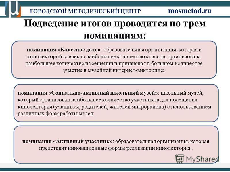ГОРОДСКОЙ МЕТОДИЧЕСКИЙ ЦЕНТР mosmetod.ru Подведение итогов проводится по трем номинациям: номинация «Классное дело»: образовательная организация, которая в кинолекторий вовлекла наибольшее количество классов, организовала наибольшее количество посеще