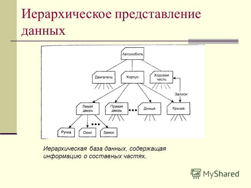 Иерархическое представление данных Иерархическая база данных, содержащая информацию о составных частях.