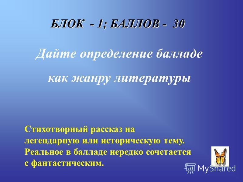 БЛОК - 1; БАЛЛОВ - 30 Дайте определение балладе как жанру литературы Стихотворный рассказ на легендарную или историческую тему. Реальное в балладе нередко сочетается с фантастическим.