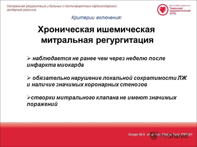 Borger M.A. et al. Ann Thorac Surg 2006;81 Хроническая ишемическая митральная регургитация наблюдается не ранее чем через неделю после инфаркта миокарда обязательно нарушение локальной сократимости ЛЖ и наличие значимых коронарных стенозов створки ми