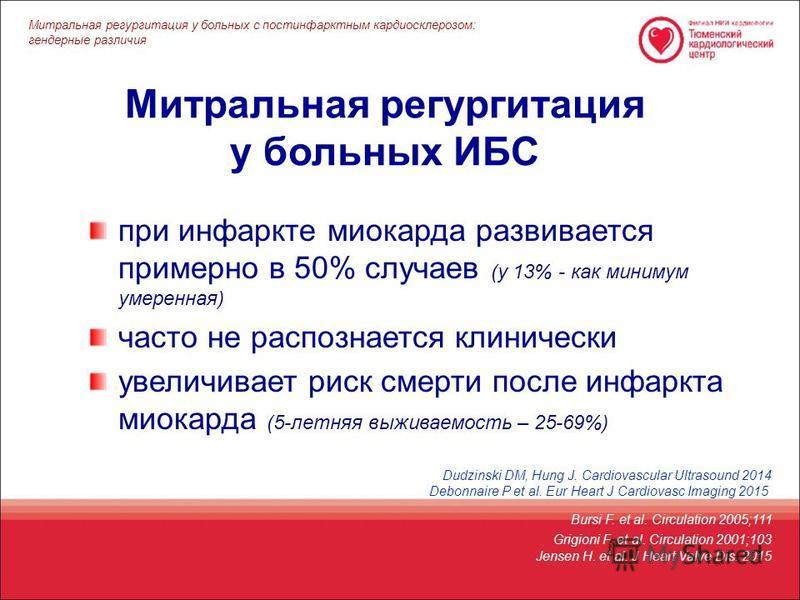 Митральная регургитация у больных ИБС Bursi F. et al. Circulation 2005;111 при инфаркте миокарда развивается примерно в 50% случаев (у 13% - как минимум умеренная) часто не распознается клинически увеличивает риск смерти после инфаркта миокарда (5-ле