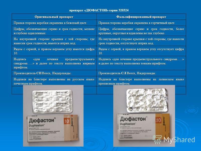 препарат «ДЮФАСТОН» серия 320324 Оригинальный препарат Фальсифицированный препарат Правая сторона коробки окрашена в бежевый цвет. Правая сторона коробки окрашена в горчичный цвет. Цифры, обозначающие серию и срок годности, мелкие и глубоко вдавленны