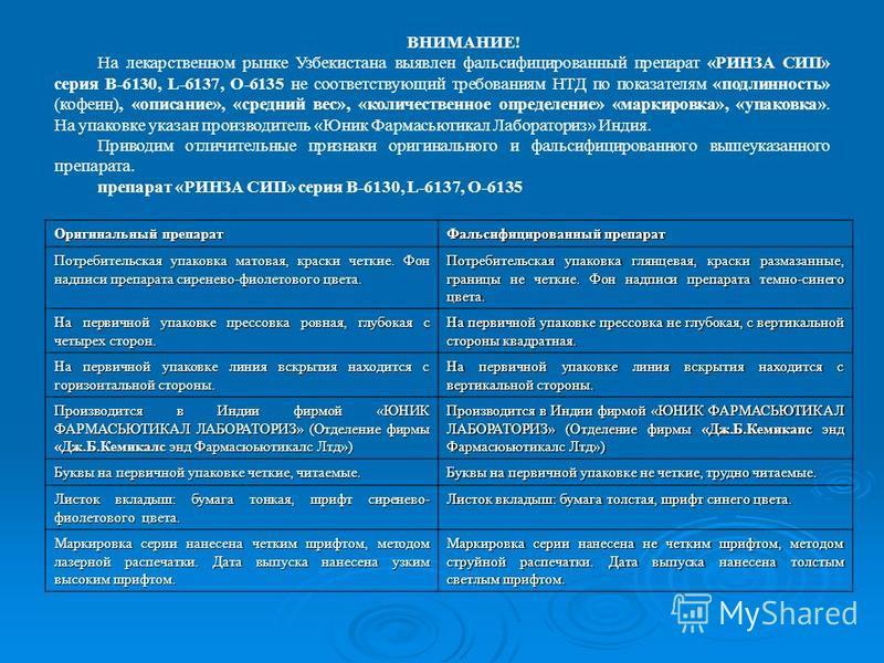ВНИМАНИЕ! На лекарственном рынке Узбекистана выявлен фальсифицированный препарат «РИНЗА СИП» серия В-6130, L-6137, О-6135 не соответствующий требованиям НТД по показателям «подлинность» (кофеин), «описание», «средний вес», «количественное определение