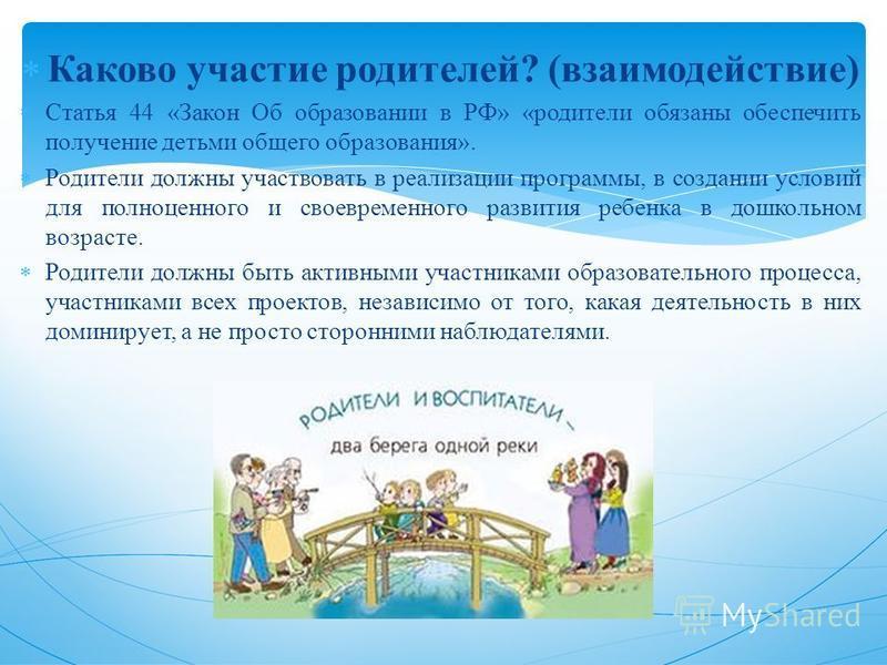 Каково участие родителей? (взаимодействие) Статья 44 «Закон Об образовании в РФ» «родители обязаны обеспечить получение детьми общего образования». Родители должны участвовать в реализации программы, в создании условий для полноценного и своевременно