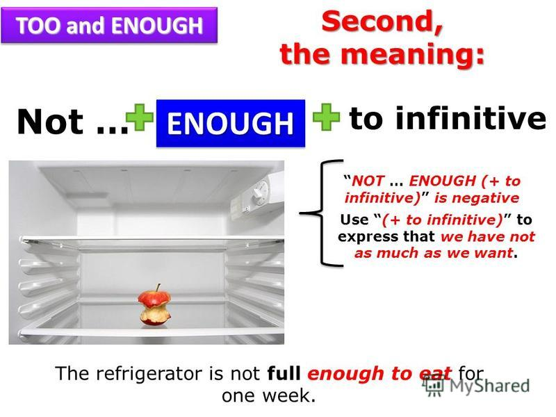 Not … NOT … ENOUGH (+ to infinitive) is negative Use (+ to infinitive) to express that we have not as much as we want. ENOUGHENOUGH The refrigerator is not full enough to eat for one week. to infinitive TOO and ENOUGH Second, the meaning: