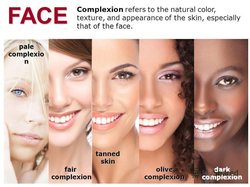 Complexion refers to the natural color, texture, and appearance of the skin, especially that of the face.FACEfaircomplexion pale complexio n tannedskin olivecomplexion darkcomplexion