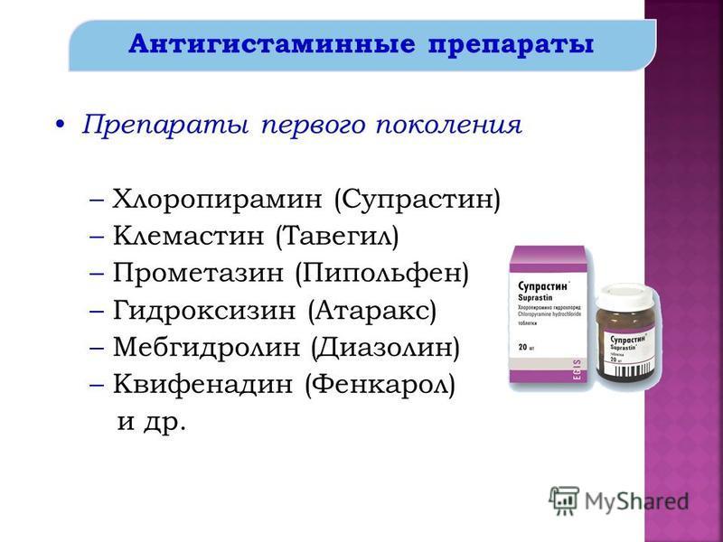 Антигистаминные препараты Препараты первого поколения –Хлоропирамин (Супрастин) –Клемастин (Тавегил) –Прометазин (Пипольфен) –Гидроксизин (Атаракс) –Мебгидролин (Диазолин) –Квифенадин (Фенкарол) и др.