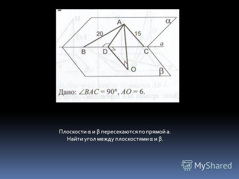 Плоскости α и β пересекаются по прямой а. Найти угол между плоскостями α и β.