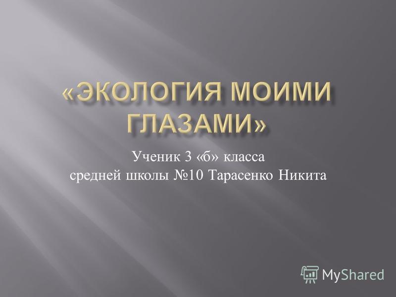 Ученик 3 « б » класса средней школы 10 Тарасенко Никита