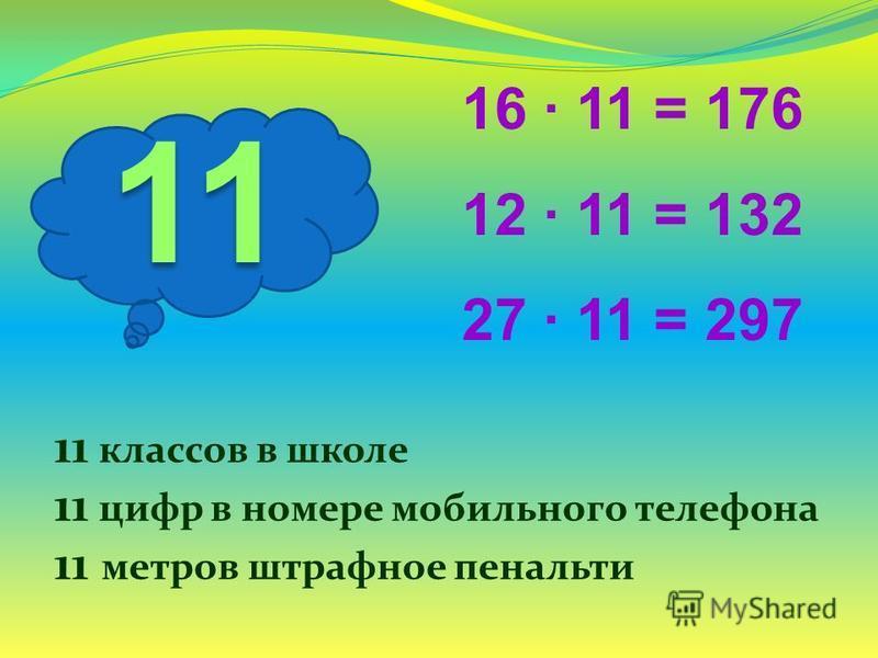 11 16 11 = 176 12 11 = 132 27 11 = 297 11 классов в школе 11 цифр в номере мобильного телефона 11 метров штрафное пенальти