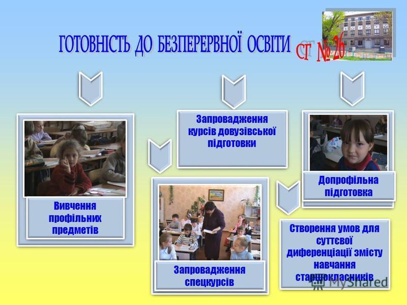 Вивчення профільних предметів Запровадження курсів довузівської підготовки Допрофільна підготовка Запровадження спецкурсів Створення умов для суттєвої диференціації змісту навчання старшокласників