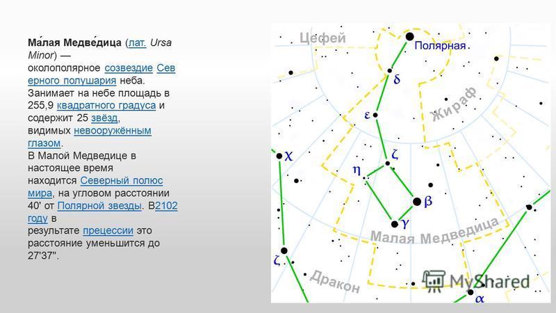 Ма́лая Медве́дица (лат. Ursa Minor) околополярное созвездие Сев ерного полушария неба. Занимает на небе площадь в 255,9 квадратного градуса и содержит 25 звёзд, видимых невооружённым глазом.лат.созвездие Сев ерного полушария квадратного градуса звёзд