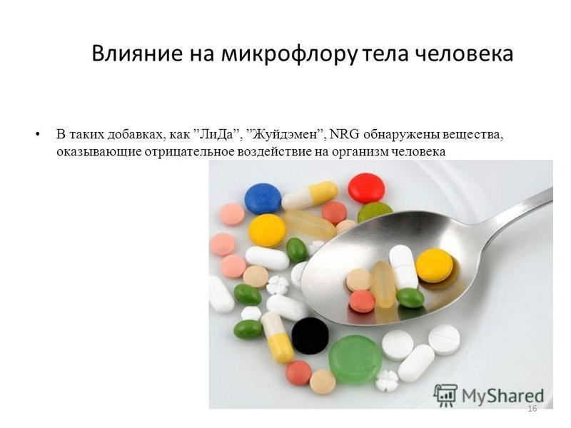 В таких добавках, как Ли Да, Жуйдэмен, NRG обнаружены вещества, оказывающие отрицательное воздействие на организм человека Влияние на микрофлору тела человека 16