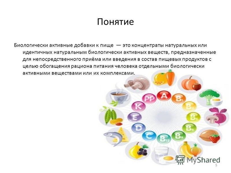 Понятие Биологически активные добавки к пище это концентраты натуральных или идентичных натуральным биологически активных веществ, предназначенные для непосредственного приёма или введения в состав пищевых продуктов с целью обогащения рациона питания