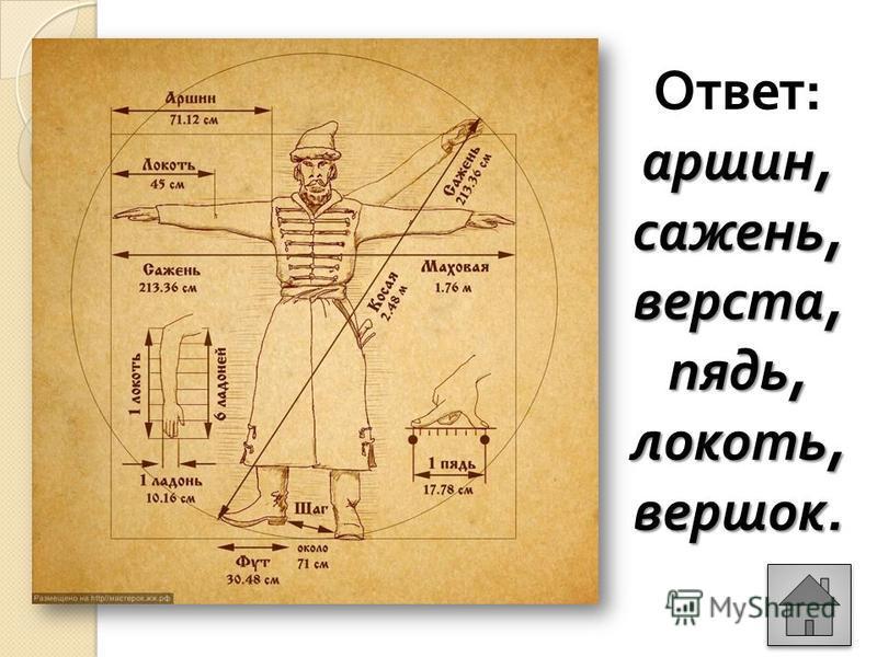 аршин, сажень, верста, пядь, локоть, вершок. Ответ : аршин, сажень, верста, пядь, локоть, вершок.