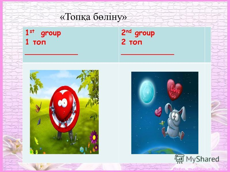 Aims To develop pupils` speaking, reading, writing and thinking skills. 1 st group 1 топ ___________ 2 nd group 2 топ ___________ «Топқа бөліну»