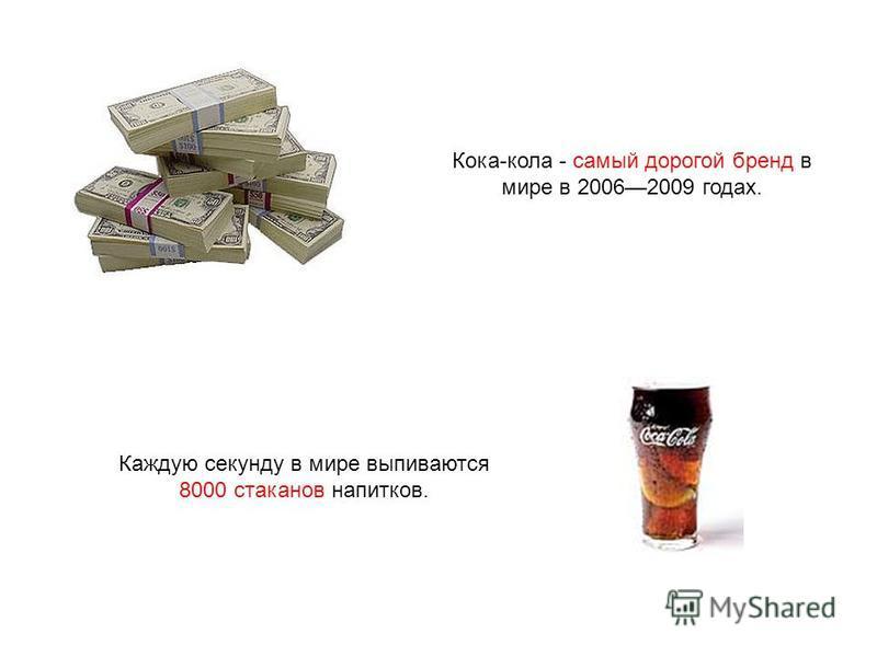 Кока-кола - самый дорогой бренд в мире в 20062009 годах. Каждую секунду в мире выпиваются 8000 стаканов напитков.