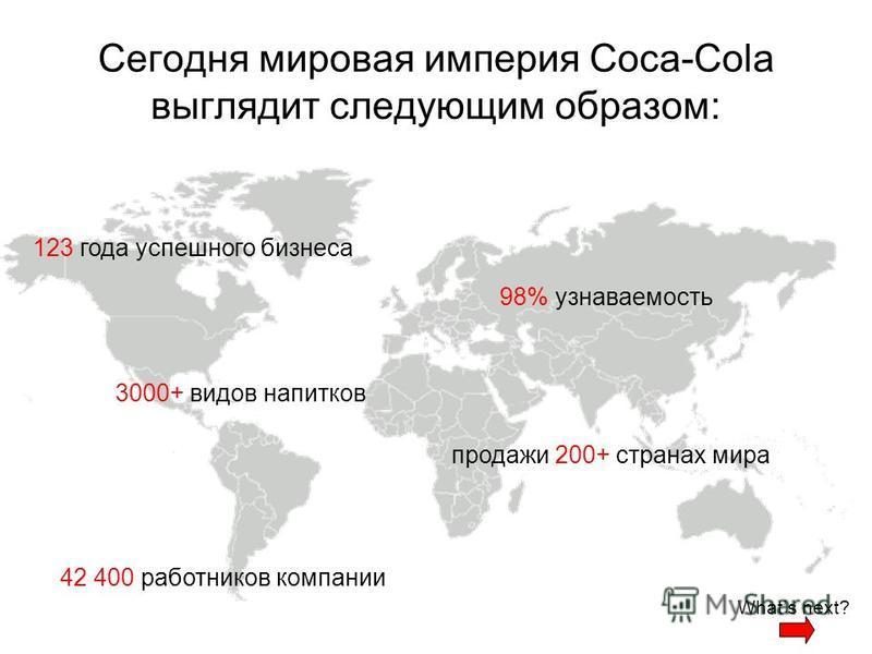 Сегодня мировая империя Coca-Cola выглядит следующим образом: 123 года успешного бизнеса 3000+ видов напитков 98% узнаваемость продажи 200+ странах мира 42 400 работников компании Whats next?