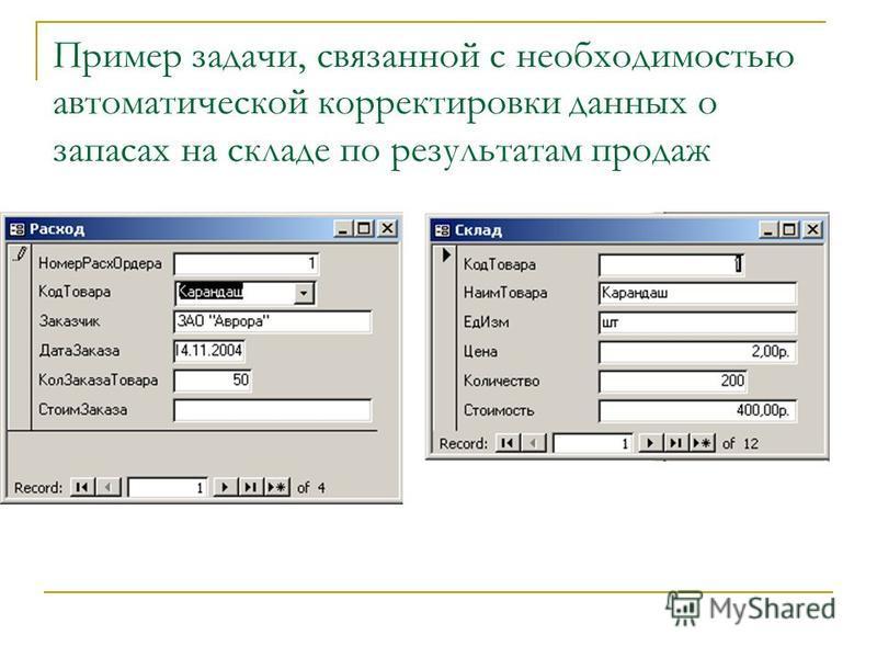 Пример задачи, связанной с необходимостью автоматической корректировки данных о запасах на складе по результатам продаж