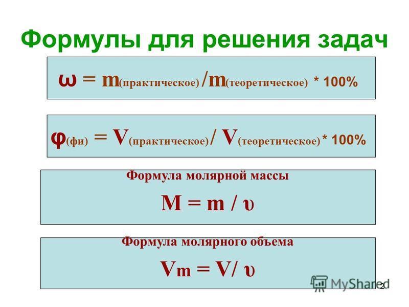2 Формулы для решения задач Формула молярной массы М = m / υ ω = m (практическое) /m (теоретическое) * 100% Формула молярного объема V m = V/ υ φ (фи) = V (практическое) / V (теоретическое) * 100%