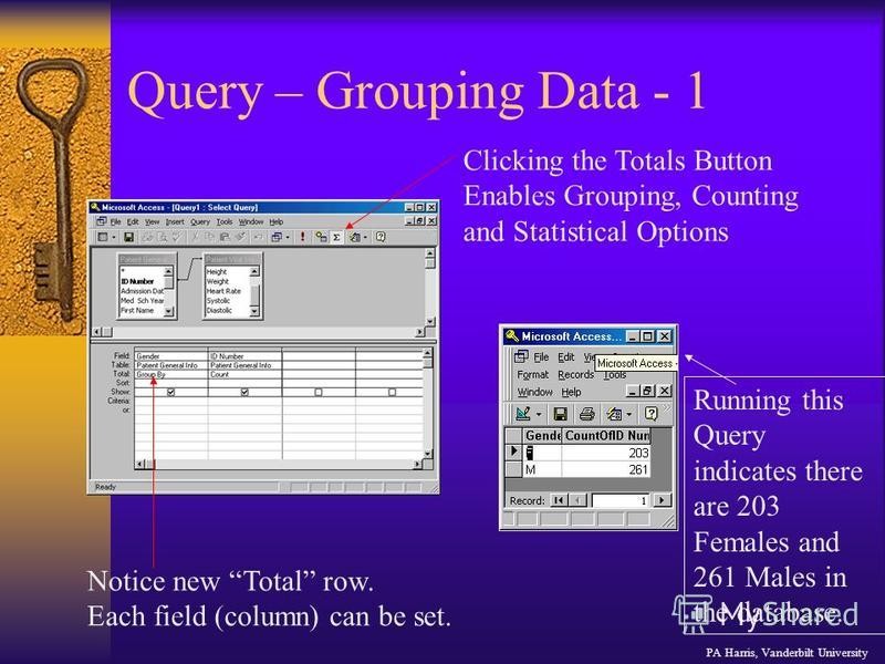 Query – Grouping Data - 1 Clicking the Totals Button Enables Grouping, Counting and Statistical Options Notice new Total row. Each field (column) can be set. Running this Query indicates there are 203 Females and 261 Males in the database. PA Harris,
