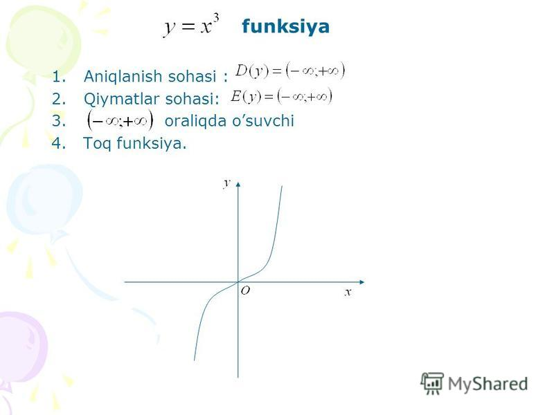 funksiya 1.Aniqlanish sohasi : 2.Qiymatlar sohasi: 3. oraliqda osuvchi 4. Toq funksiya.
