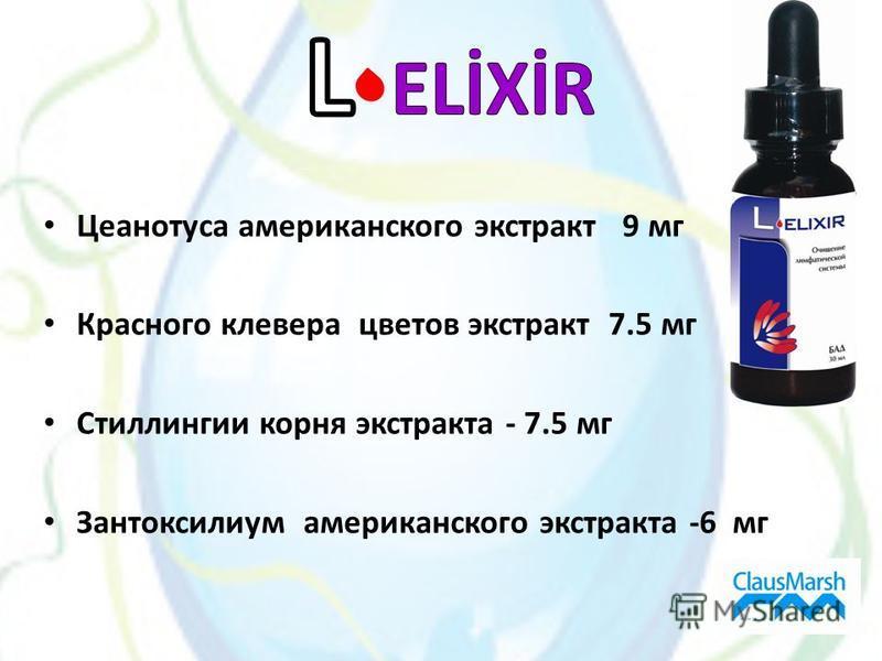 Цеанотусa американского экстракт 9 мг Красного клевера цветов экстракт 7.5 мг Стиллингии корня экстракта - 7.5 мг Зантоксилиум американского экстракта -6 мг