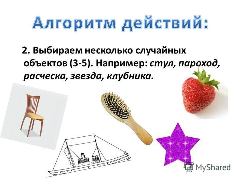 2. Выбираем несколько случайных объектов (3-5). Например: стул, пароход, расческа, звезда, клубника.