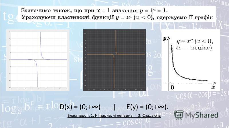 D(x) = (0;+) | E(y) = (0;+). Властивості: 1. Ні парна, ні непарна | 2. Спадаюча